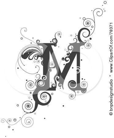 Royalty Free RF Clipart Illustration of a Vine Alphabet Letter M
