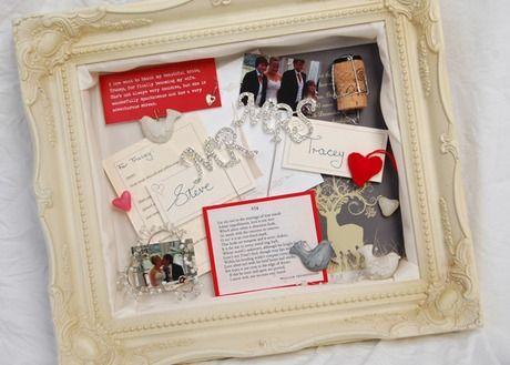 Shabby chic memory frame shadow box including wedding keepsakes and ...