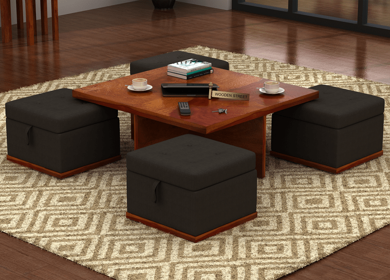 Give Your Living Room A Prestigious Look With This 3 In 1 Centre Table That Has Stools With The Center Table Living Room Table Decor Living Room Center Table