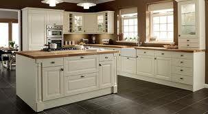 Cream Shaker Kitchen Oak Worktop Grey Floor Kitchen Fittings