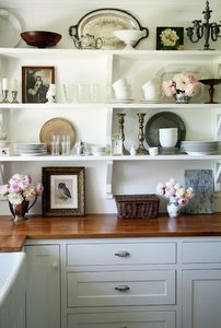 Superbe Wall Mounted Shelves Open Shelves Love The Mix And Match Of Candlesticks,  White Dishes,
