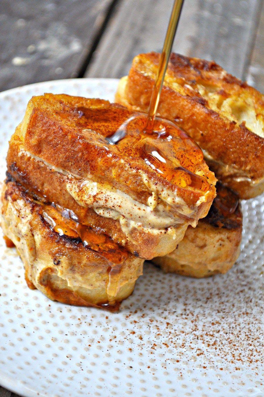 Vegan Pumpkin Cheesecake Stuffed French Toast
