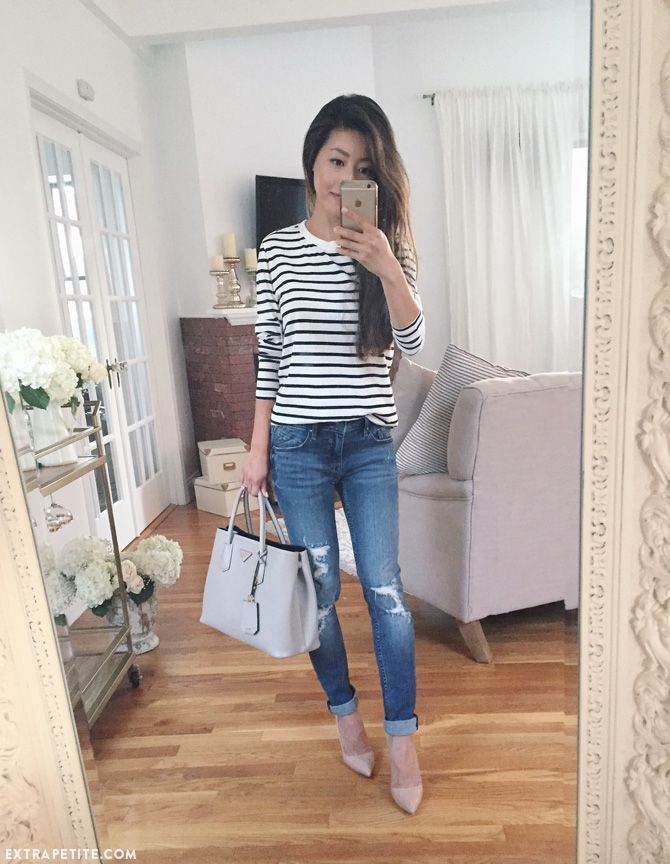Simple In Striped Tee  Jeans Reviews Of Petite-Friendly -7281