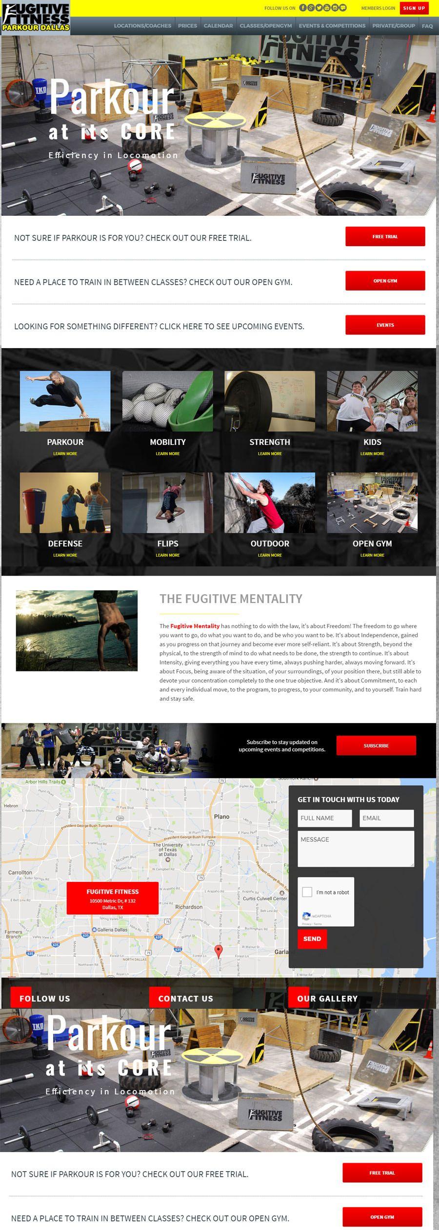 New Website Design For Dallas Based Fugitive Fitness Parkour Web Design Design Clients Custom Website Design