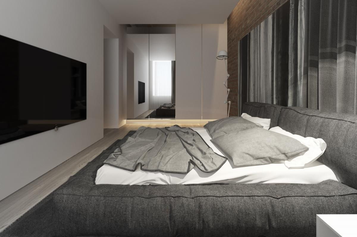 Ordinary Wooden Flooring Bedroom Design With Gray Fabric Bed Frame Plus White Bedding Including Curtain Window Beside Headboard