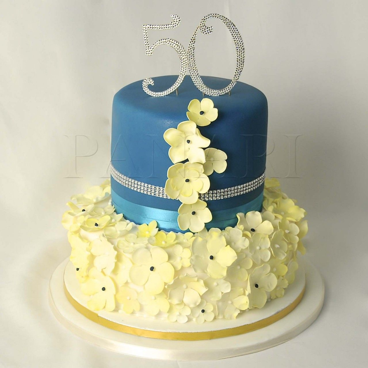 Blue White Vanilla Pictures Of 50th Birthday Cakes For