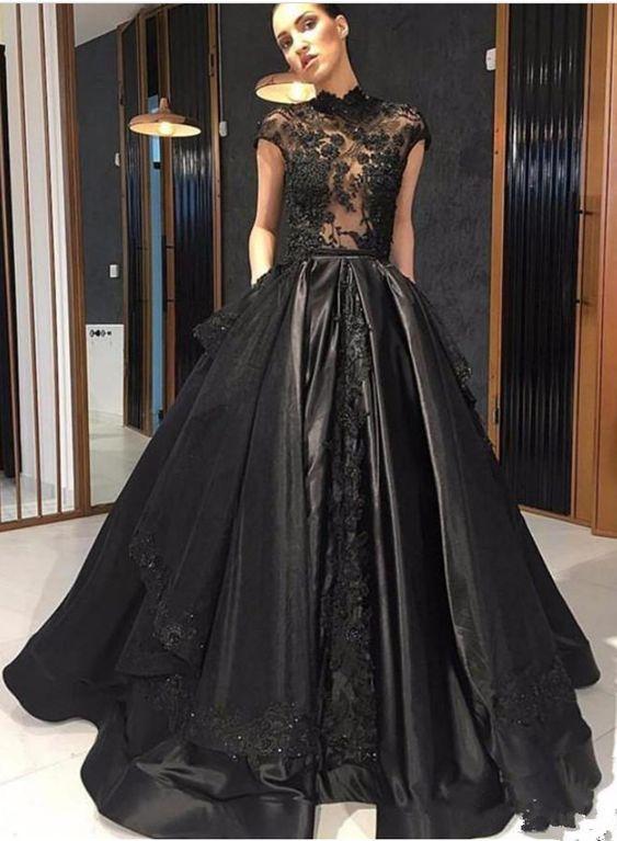 Cucina Long Di Modest P2407 Dress Dresses Prom Black New wqOt0qg
