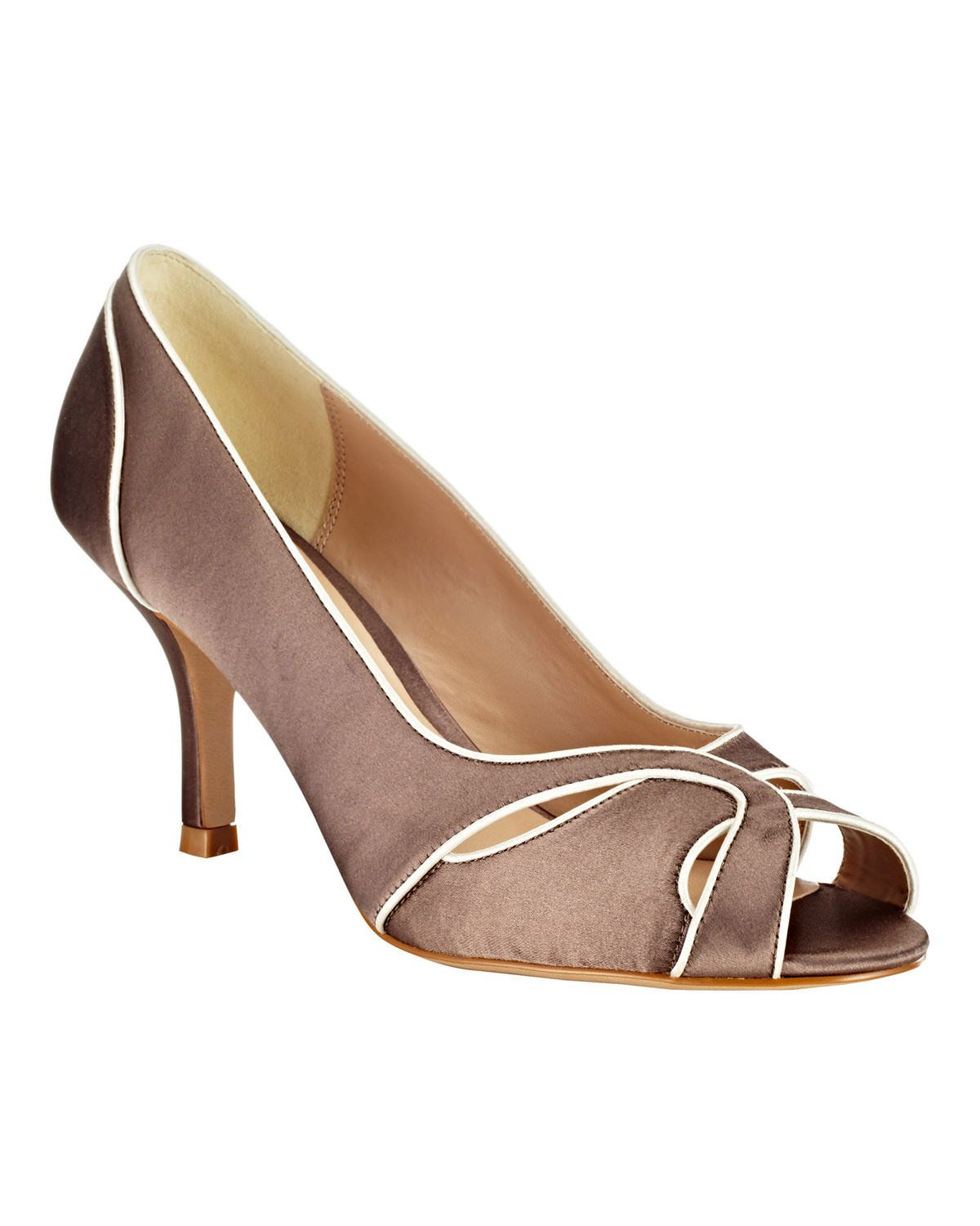 clearance prices order arriving Phase Eight Lillie Satin Peep Toe Shoes Brown | Mother of ...