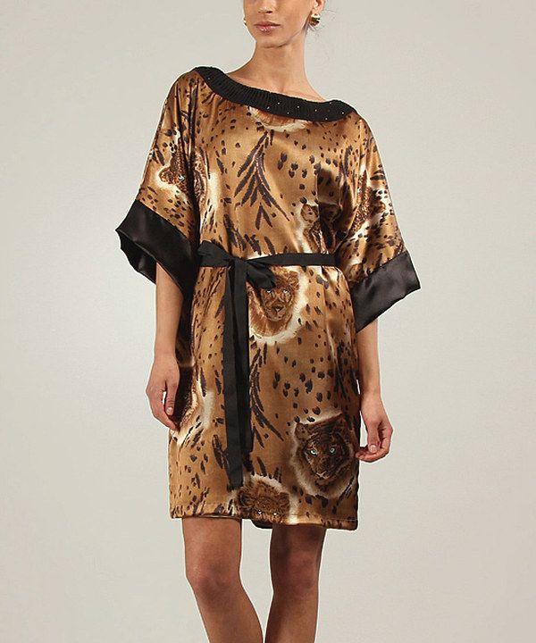 Another great find on #zulily! Gold & Black Lorine Cape-Sleeve Dress by Niza #zulilyfinds