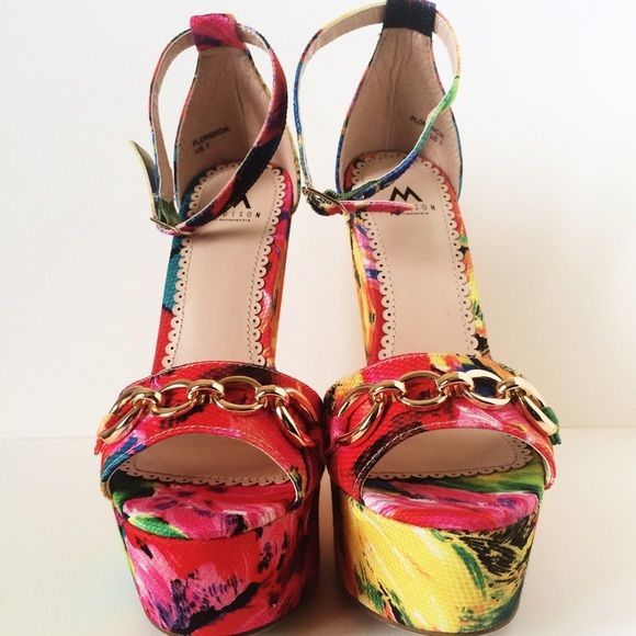 Shoes Bring a little color into your wardrobe! Perfect for the spring and summer! Can be worn with a fun and flirty skirt or dress! These shoes are brand new, never been worn. Shoes Wedges