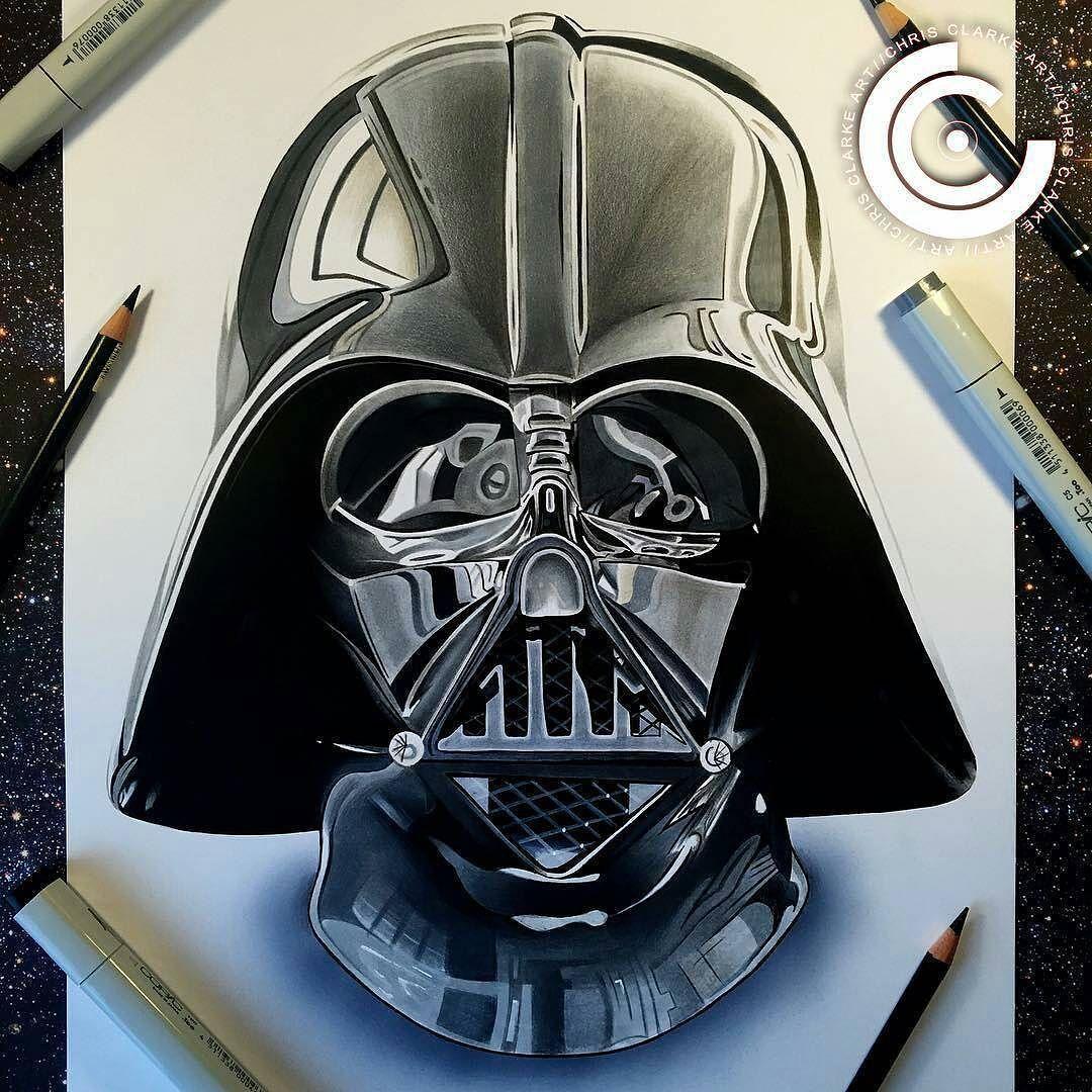 Darth Vader Helmet Pencil Drawing