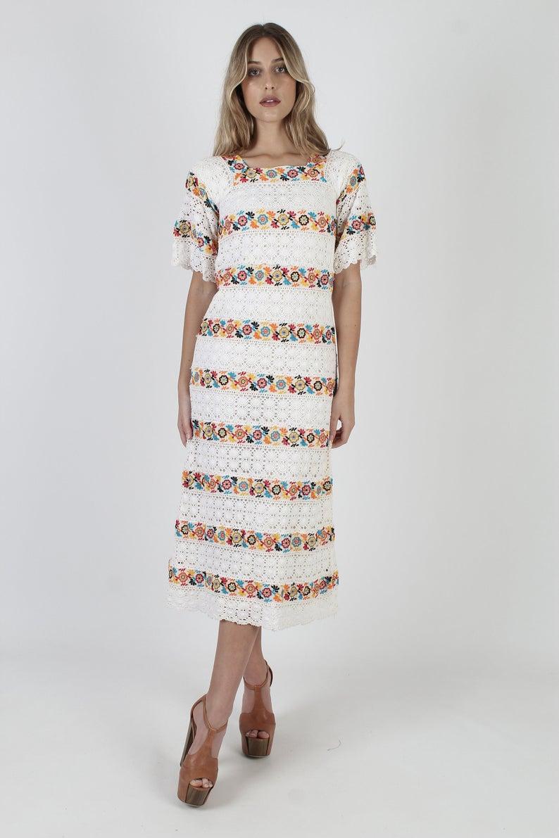 White Crochet Mexican Wedding Maxi Dress Vintage 70s Bright Etsy Maxi Dress Wedding Vintage Maxi Dress Womens Long Dresses [ 1191 x 794 Pixel ]
