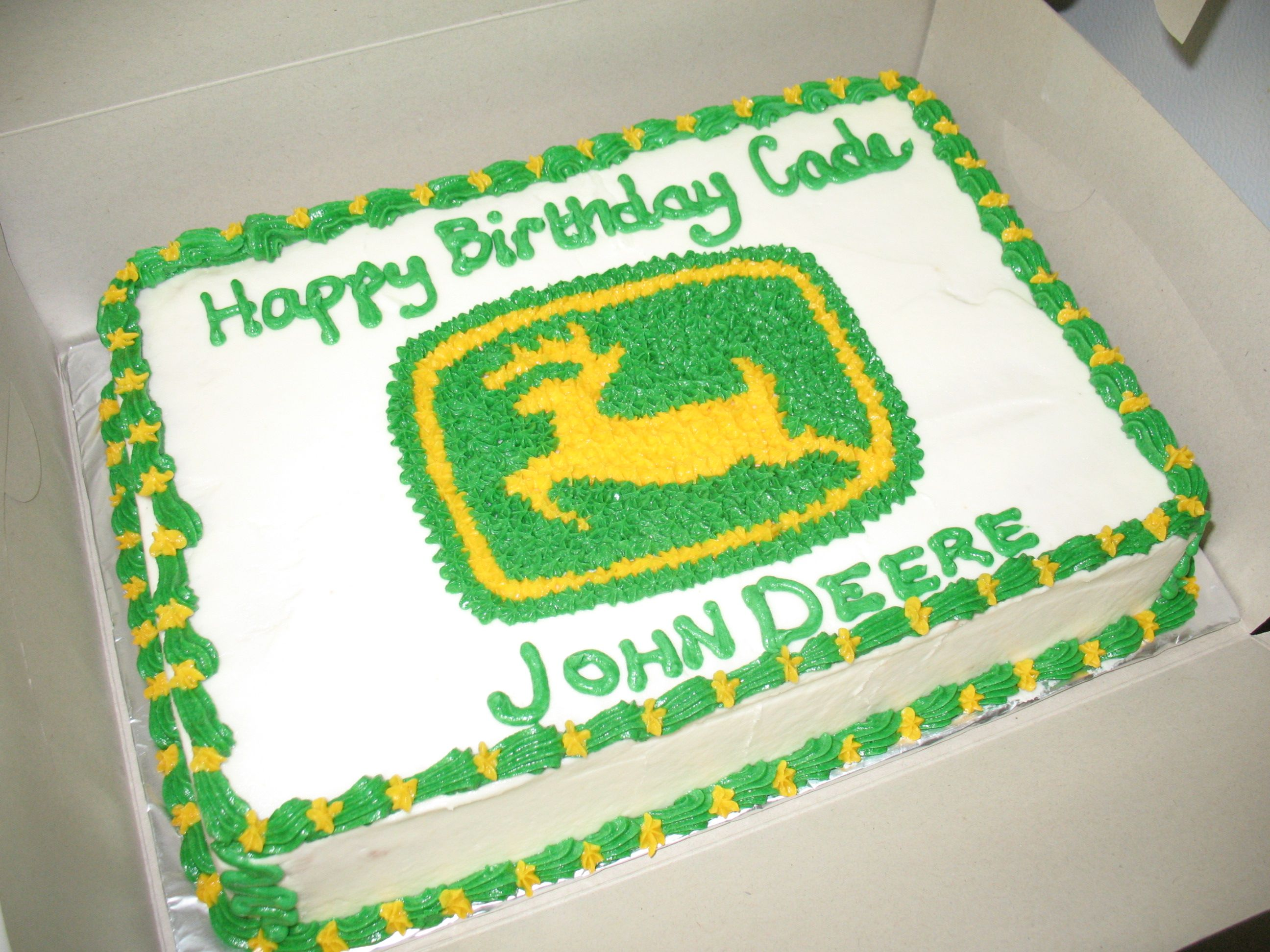 Birthday Cake For John : John Deere Birthday Cake - A 9x13 white cake iced in ...