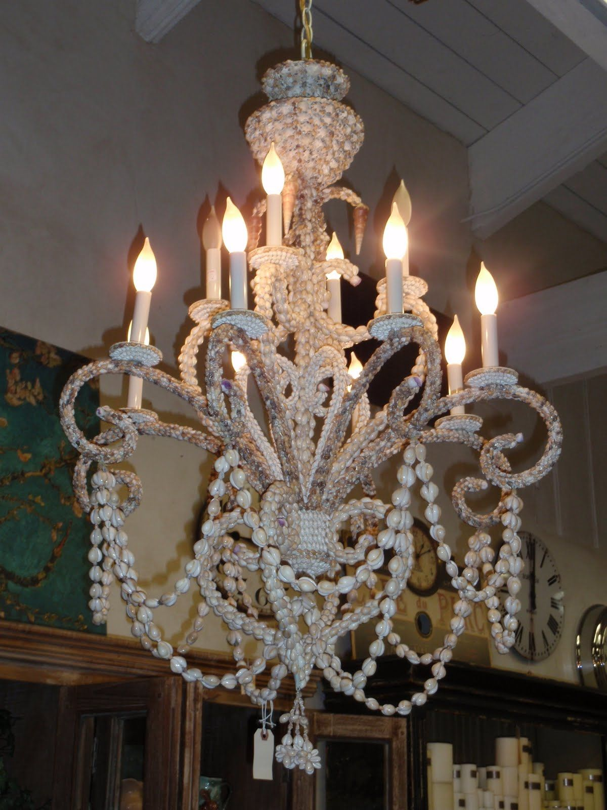 Seashell Chandelier Sea Shells Inspirations Pinterest