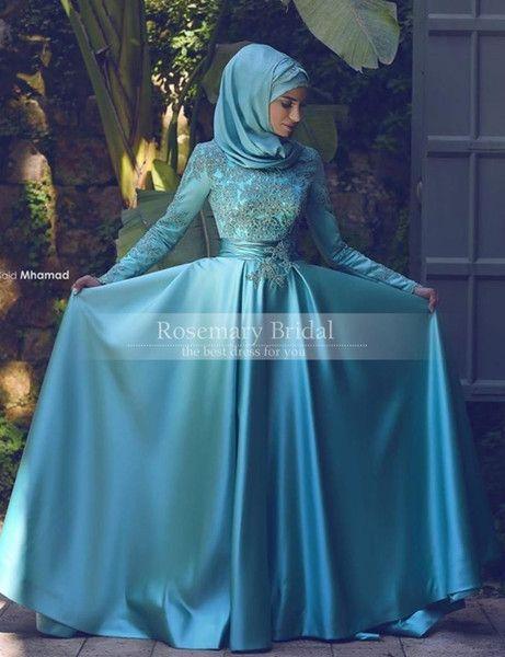 2016 Long Sleeves Muslim Arabic Evening Gowns Dresses Dubai Formal ... 492f4d3b636a
