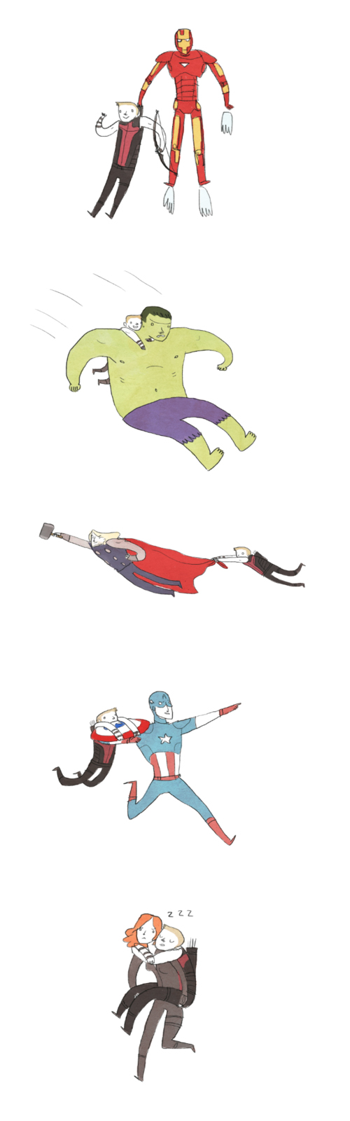 Hawkeye Hitches a ride on all of the other Avengers.  I like Hawkeye, but this does make me laugh.