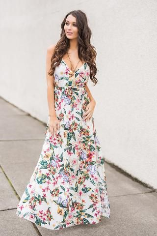 9add632dd A Night In Spain Strappy Back Cinched Waist Double Slit Floral Maxi Dress  (Ivory)