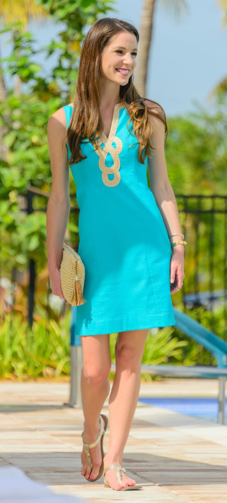 26832b0bb5f Teal and gold Lilly Pulitzer Janice Dress... such gorgeous neckline detail!  Wish I could have one in every color!