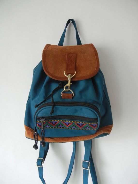 Vintage Mini Backpack, 90's, Southwestern, Tumblr, Peacock Blue ...