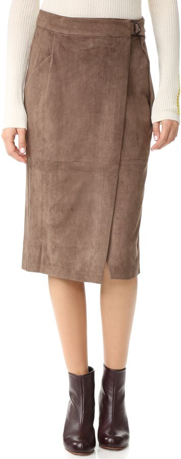 And B Ring Buckle Midi Skirt