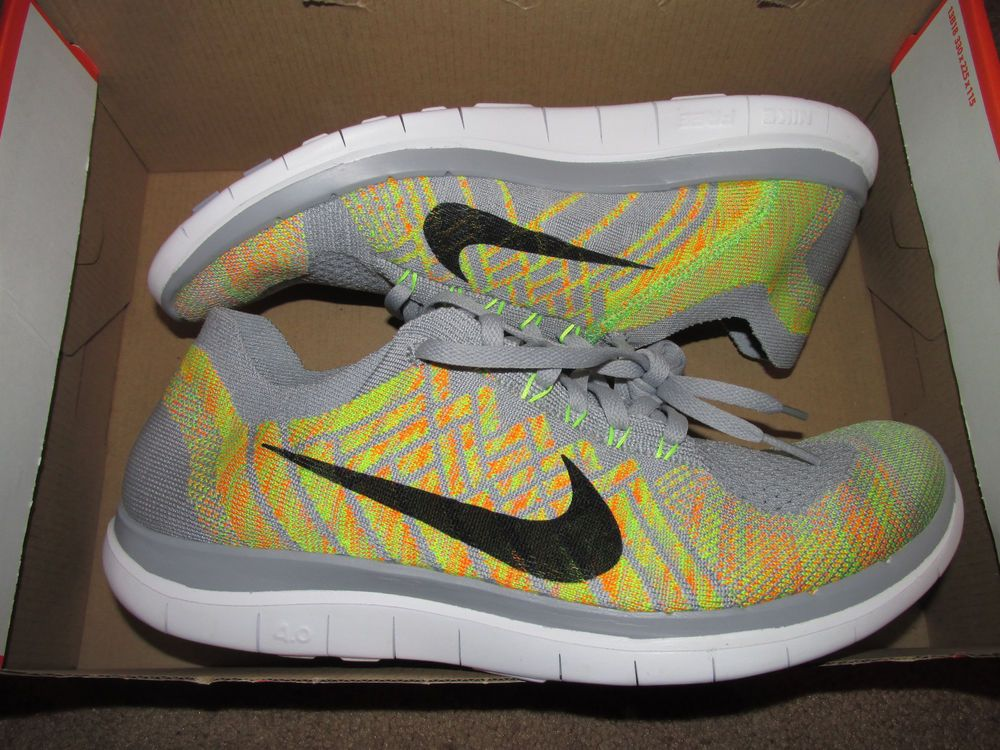 cheap for discount 969f6 0603b Nike Free 4.0 Flyknit Mens Running Shoes 12 Wolf Grey Volt Black 717075 003…