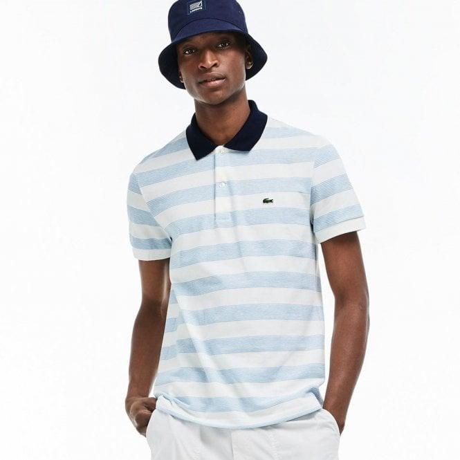Men's Regular Fit Striped Texturized Cotton Piqué Polo Shirt ...