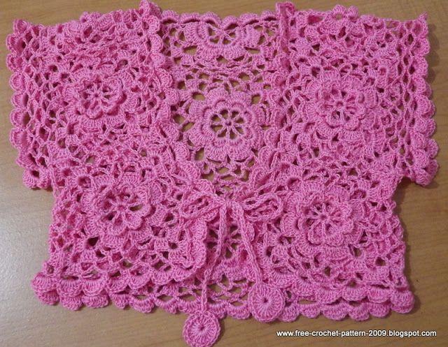 Girlie's Crochet: Pink Bolero for 7 Years Old, mét tutorial!