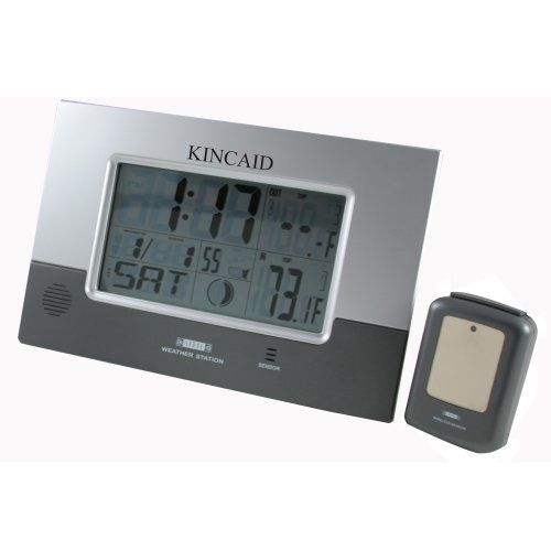 kincaid wall mounted digital weather station clock with remote sensor details can be found