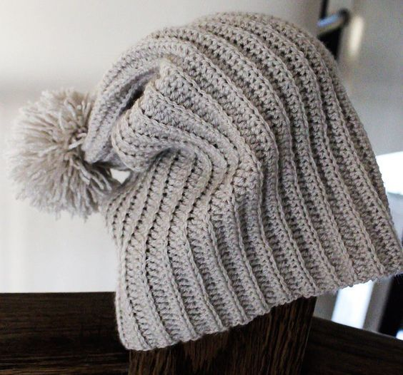 Extra Thin Slouch Pom Pom Beanie-Free Pattern-Emmy\'s Crochet | Hat ...