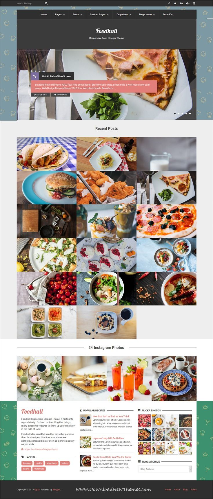 Foodhall responsive food blogger theme foodhall is clean and modern design responsive premium blogger template for food recipes forumfinder Image collections