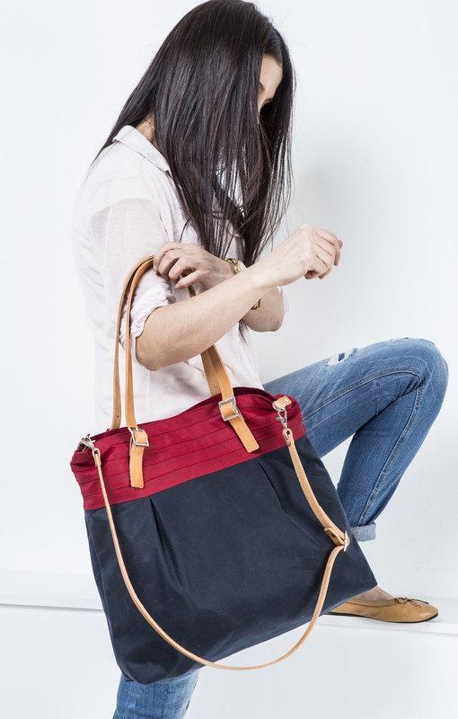 Just Custom Handbags - Listings View Navy Tote Bag Shoulder Bag With Leather Detailsmediumcasualtrendyfor Womengirls.  #handmadehandbag #handbags #womenhandbag #womenfashion