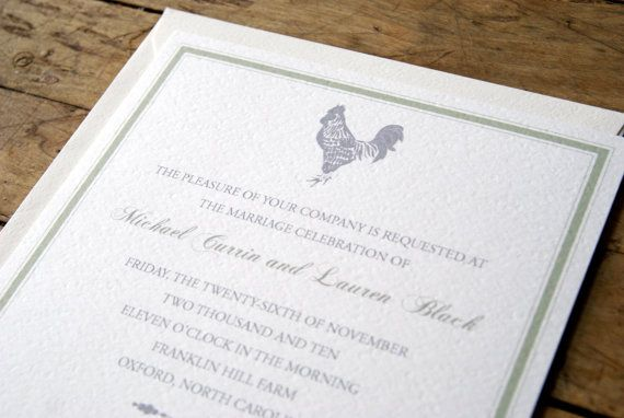 Farm Wedding Invitation Rustic Rooster LimeAndRubyetsy