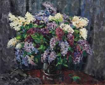 Nikolai Bogdanov Belsky 1868 1945 Lilacs Peintre Artiste Impressionnisme