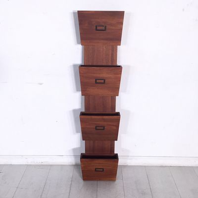 Wall Mounted Magazine Rack Wooden With Four Storage Compartments Includes Ings