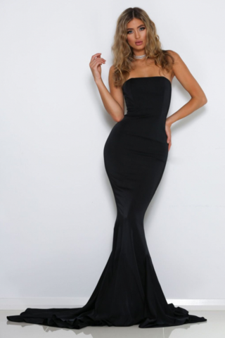 Cavalli Strapless Gown Black Meshki Vestidos De Festa