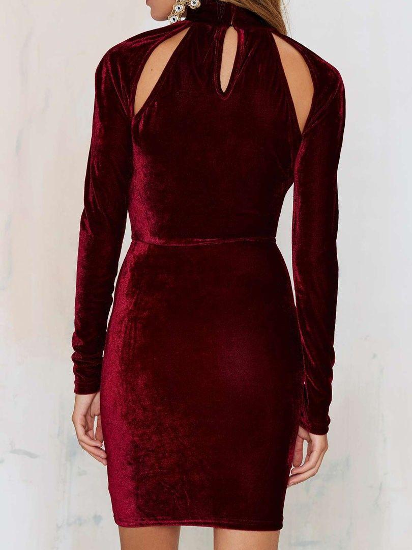 Burgundy Velvet High Neck Plunge Cut Out Bodycon Dress  89201657d