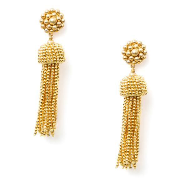 Gold Clip-On Tassel Earrings