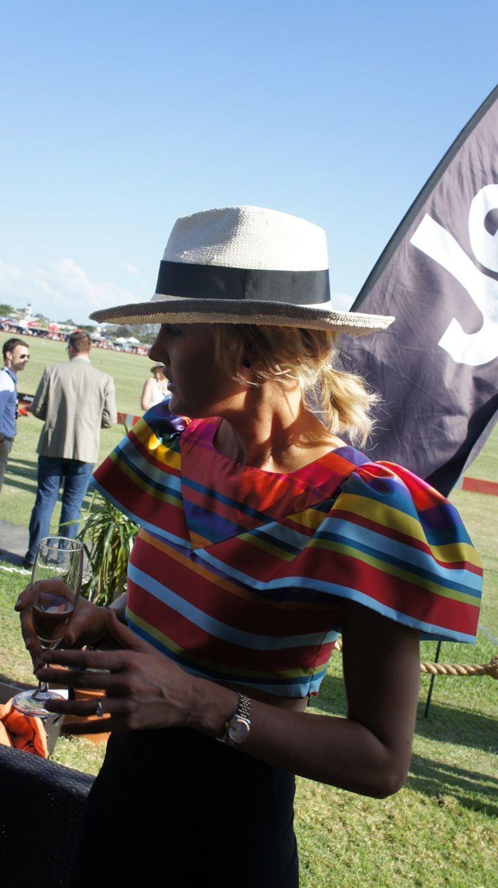Jeep ambassador Kimberley Busteed looked amazing in a Gail Sorronda silk stripe crop top and black skirt.