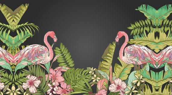 Carta Da Parati Foresta Tropicale : Tropical flamingo peel stick wallpaper hawaii pianta foresta