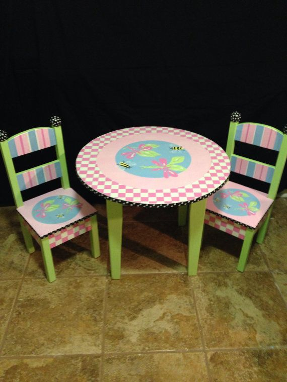Hand Painted Kid S Table And Chairs By Paulasplayhouse On Etsy