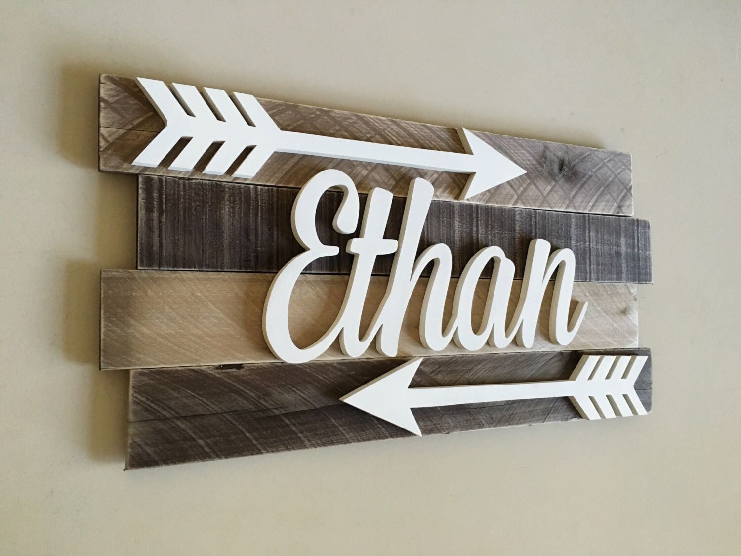 Nursery reclaimed wood name sign, Distressed nursery name, Rustic nursery  decor, nursery arrows