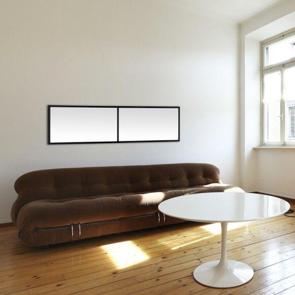 Miroir fen tre duo de couleur noire et de forme panoramique il peut tre positionn en for Miroir forme fenetre