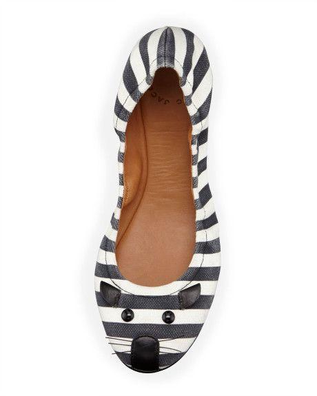 Women's Striped Mouse Scrunch Flat Blackwhite | Ditte's
