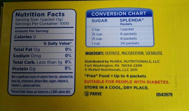 Conversion Chart For Splendasugar Kitchen Hints Help