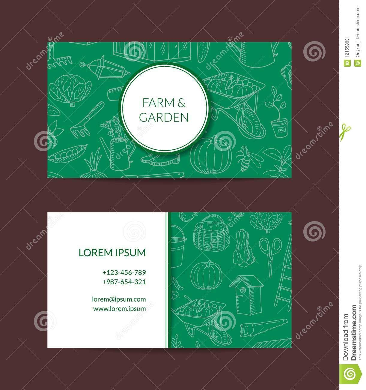 Vector Gardening Doodle Icons Business Card Stock Vector Pertaining To Gardening B Business Card Stock Business Cards Creative Templates Business Card Template