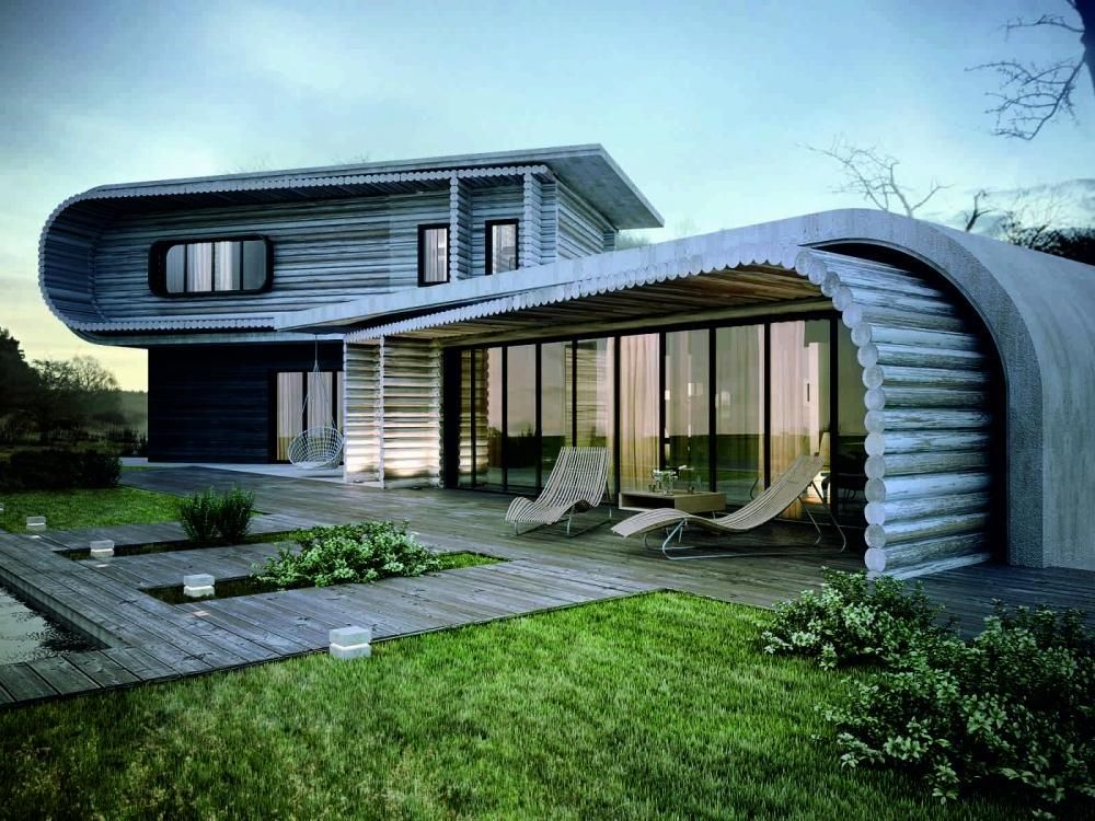 Beautiful examples of creative houses exterior designs for Wooden house exterior design