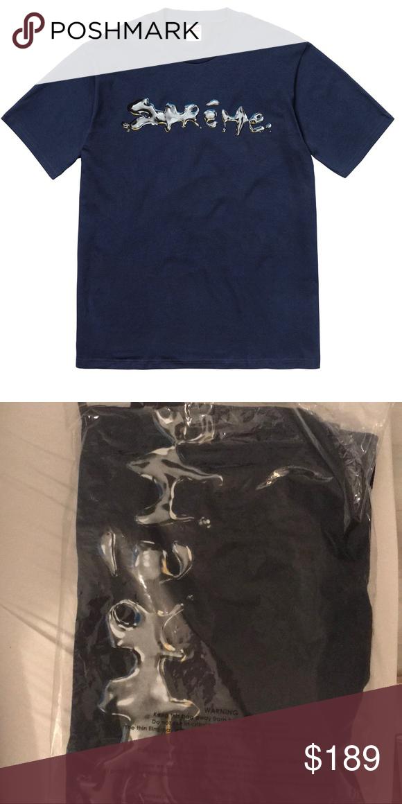 87a553902540 NWT Supreme Liquid Tee Navy Authentic NWT Supreme Liquid Tee Navy Authentic  Navy Large Supreme Shirts Tees - Short Sleeve