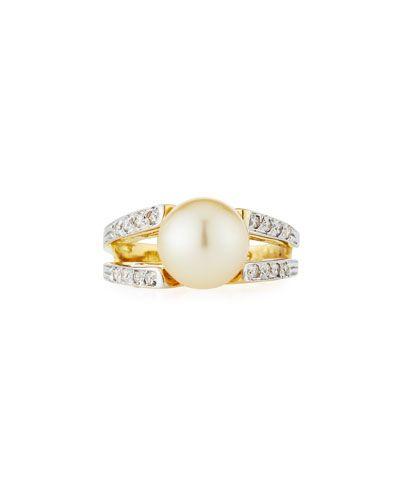Belpearl 18k Double Pearl Ring w/ Diamond Band, Size 6.5