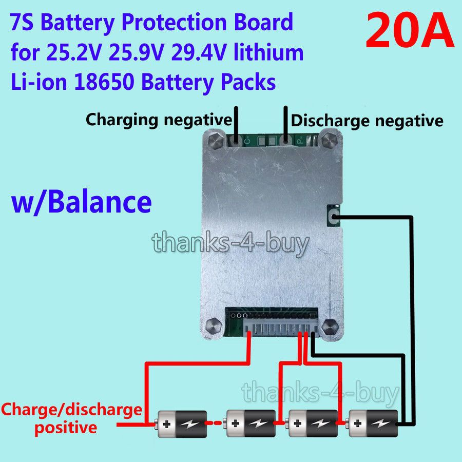 $8 69 - 7S 24V 20A Bms Protection Board W/ Balance For 18650