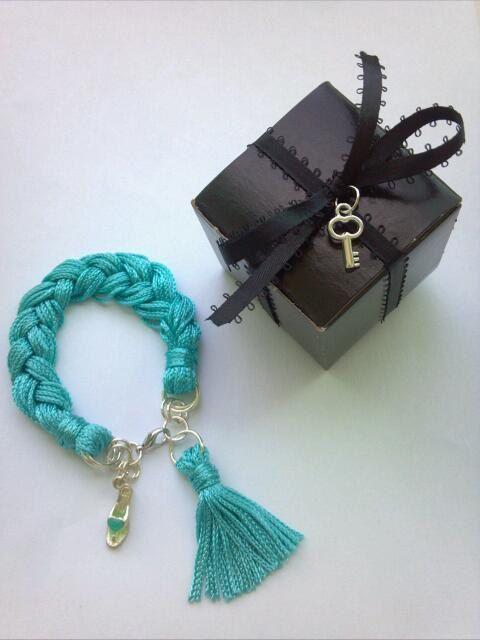 Spring Trend NEON Tiffany Blue Braided Fringe Friendship Charm Bracelet - MYCACouture